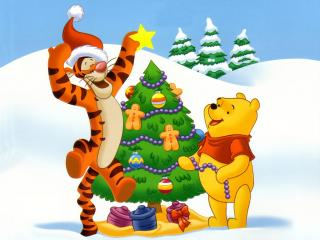 обои Тигра и Вини-Пух украшают елку фото