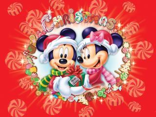 обои Мики Маус поздравляют с рождеством фото