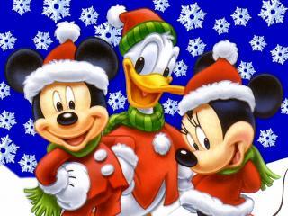обои Дональд Дак и Мики Маус хотят поздравить с рождеством фото