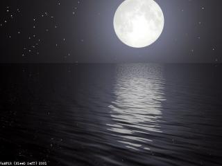 обои Отражение Луны в море фото
