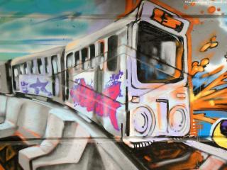 обои Поезд - граффити фото