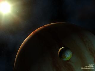 обои Планета на фоне солнца фото