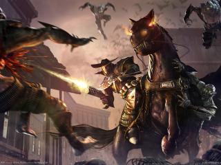 обои Darkwatch curse of the west - атака зомби фото
