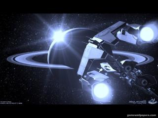 обои Синий космический корабль фото