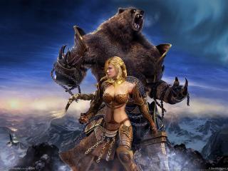 обои Guild wars eye of the north девушка и медведь фото
